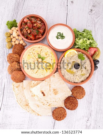 falafel with dips and bread - stock photo