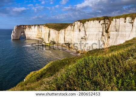 Falaise d'Amont cliff at Etretat, Normandy, France, Europe