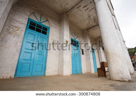 FALAM, MYANMAR - JUNE 18 2015: Baptist Church in the recently opened to foreigners area of Chin State - western Myanmar (Burma) - stock photo