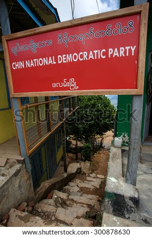 FALAM, MYANMAR - JUNE 18 2015: Chin National Democratic Party Sign in the recently opened to foreigners area of Chin State - western Myanmar (Burma) - stock photo