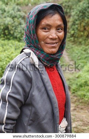 FALAM, MYANMAR - JUNE 17 2015: Local woman in the recently opened to foreigners area of Chin State - western Myanmar (Burma) - stock photo