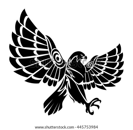 falcon bird flying tattoo on isolated white background