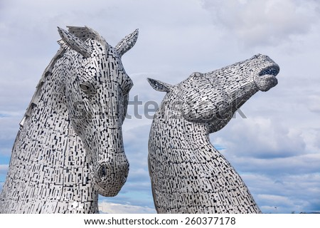 FALKIRK - AUGUST 19, 2014: The Kelpies Horse statue at The Helix Park in Falkirk, Scotland on Aug 19th 2014.  - stock photo