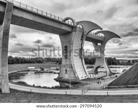 Falkirk, Scotland, UK. June 22nd 2015. Details of the structure of the Falkirk Wheel in its location at Falkirk, Scotland.