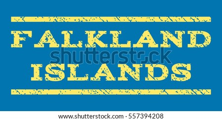 Falkland Islands watermark stamp. Text caption between horizontal parallel lines with grunge design style. Rubber seal stamp with dust texture. Glyph yellow color ink imprint on a blue background.