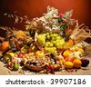 fall arrangement with fruits and vegetables - stock photo