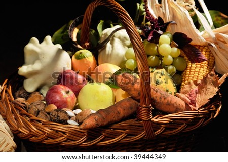 fall arrangement with fruits and vegetables