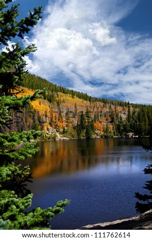 Fall at Bear Lake, in the Rocky Mountain National Park, Colorado - stock photo