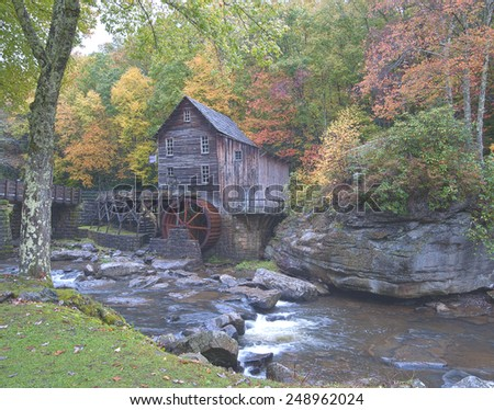 Fall at the old mill - stock photo