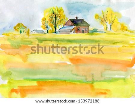 fall background. autumn landscape - stock photo
