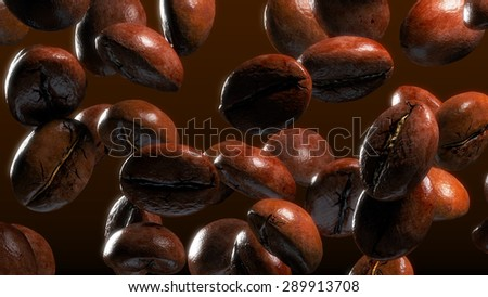 fall coffee beans in smoke - stock photo