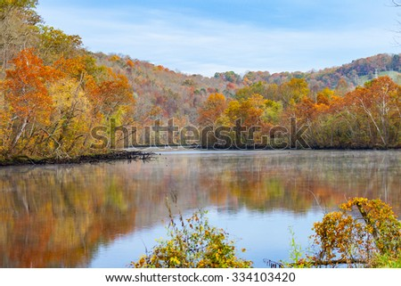 Fall color at Norris Dam State Park - stock photo