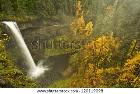 Fall color in silver falls state park - stock photo