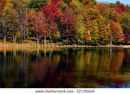 Fall Color, Summit Lake, Monongahela National Forest, Greenbrier County, West Virginia, USA