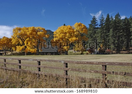 Fall colors and Ranch-land, Nevada - stock photo