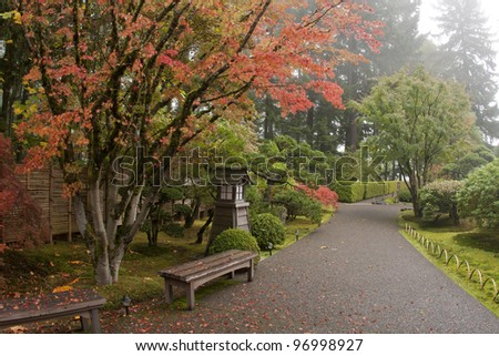 Fall colors in the Japanese Gardens - stock photo