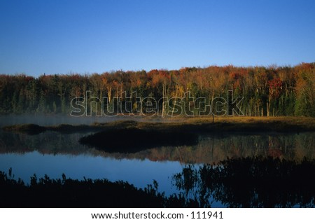 fall colors over pond