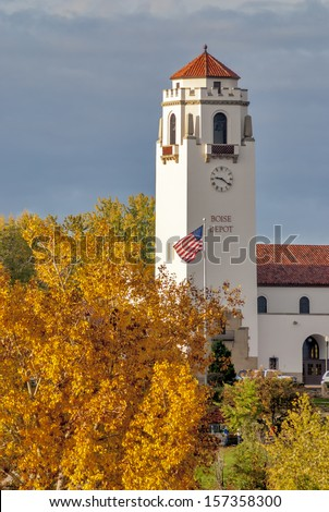 Fall colors surrounds the historic train depot in Boise Idaho - stock photo