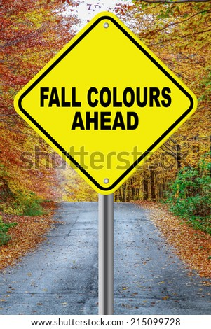 Fall colours ahead cautionary road sign against a fall background - stock photo
