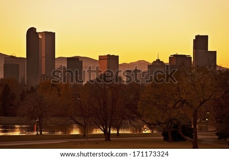 Fall Denver Sunset. Late Fall Sunset in Denver. Denver Skyline Panorama. United States. - stock photo