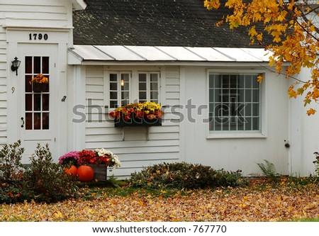 Fall farmhouse vignette - stock photo