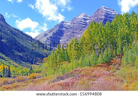 Fall Foliage and the Maroon Bells, Rocky Mountains Colorado - stock photo