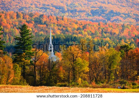 Fall Foliage and the Stowe Community Church, Stowe, Vermont, USA - stock photo