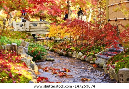 Fall foliage at Eikando Temple in Kyoto, Japan. - stock photo