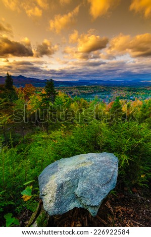 Fall foliage landscape, Stowe, Vermont, USA - stock photo