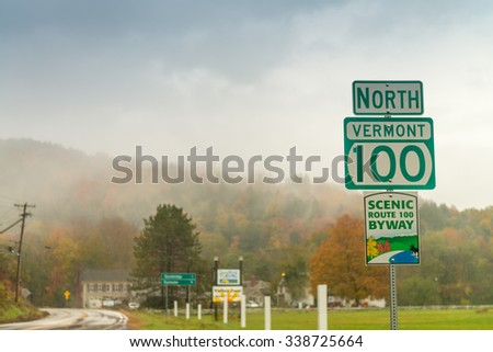 Fall foliage of New England, USA. - stock photo