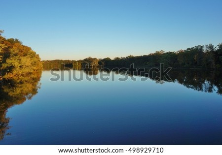 Fall foliage over Lake Carnegie in New Jersey