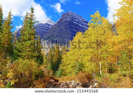 Fall Foliage with Aspen Trees, Maroon Bells, Colorado Rocky Mountains - stock photo