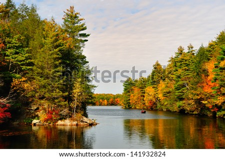 Fall Folliage at Bigelow Hollow State Park, CT - stock photo