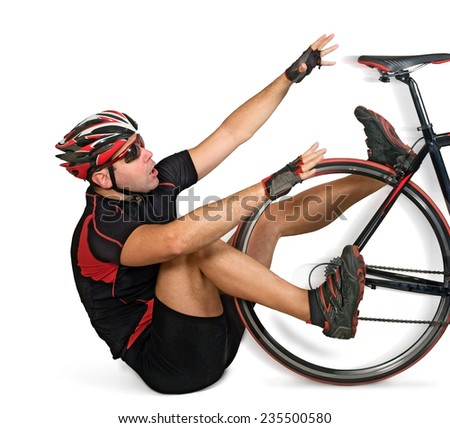Fall from bike on white background. The cyclist fell off the bike on his bottom. Accident with a fall while riding a bicycle. Acceleration bike at the race.