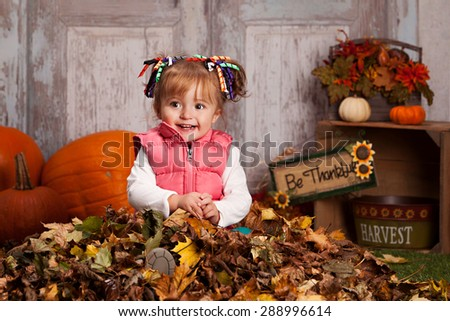 Fall Fun.  Adorable toddler playing in the leaves. - stock photo
