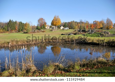 Fall landscape eastern township Bromont, Quebec, canada - stock photo