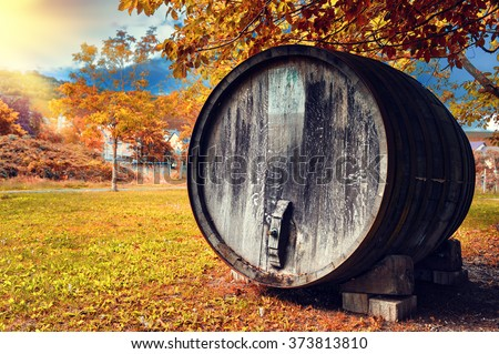 Fall landscape with old wooden wine barrel used as outdoor decoration - stock photo