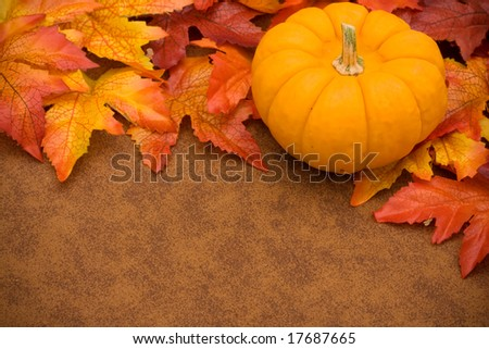 Fall leaves with orange gourd on brown background, fall border