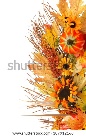 Fall leaves with pumpkin isolated on white background. - stock photo