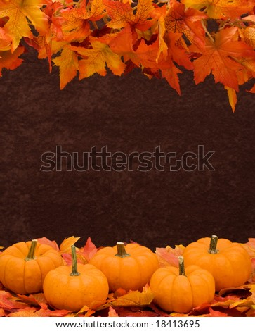 Fall leaves with pumpkin on brown background, fall harvest