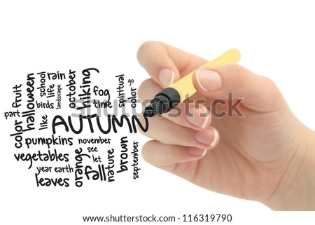 Fall or Autumn Word Cloud Concept on whiteboard