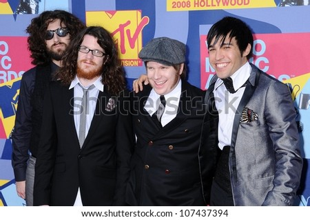 Fall Out Boy  at the 2008 MTV Video Music Awards. Paramount Pictures Studios, Los Angeles, CA. 09-07-08