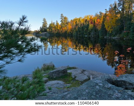 Fall reflection at Fenske Lake in Minnesota.