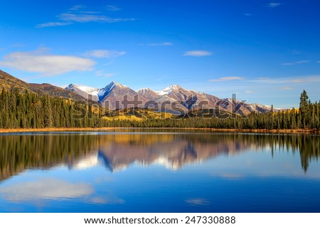 Fall reflection in Wrangell-St.Elias National Park, Alaska - stock photo