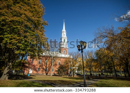 Fall season in New Haven Green a park in downtown New Haven, CT used for public events and bordered by Yale University. - stock photo
