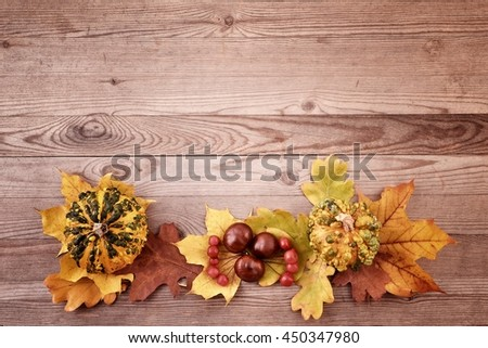 Fall wallpaper. Fall wallpaper with autumn leaves on wooden background. Fall wallpaper with autumn fruits. Fall wallpaper,  vintage style.
