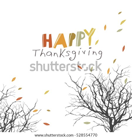 Fallen Autumn Leaves. Tree Trunk Silhouettes Without Foliage. Happy  Thanksgiving Concept Illustration. Autumn