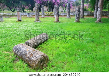Fallen column on green meadow inside ancient sanctuary at Olympia, Greece - stock photo