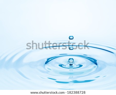 Fallen drop on the water surface.  Nature and environment background