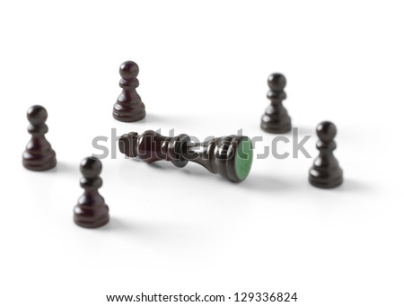 Fallen king and pawns